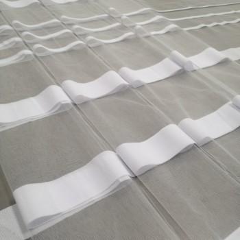 Тюль сетка полоса Сенай белый