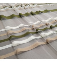 Тюль сетка полоса Сенай оливковый