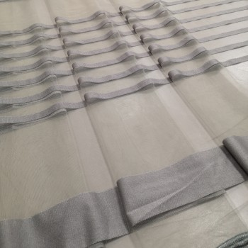 Тюль сетка полоса Сенай серый