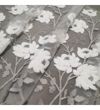 Тюль сетка с вышивкой Цветы молочный