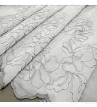 Тюль лен вышивка Розы серый