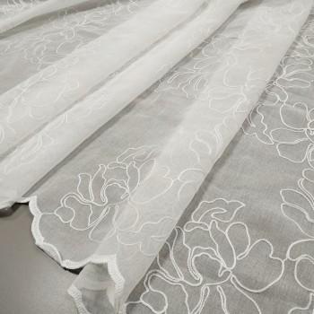 Тюль лен вышивка Розы белый