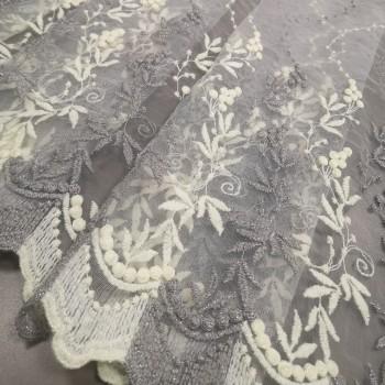 Тюль сетка Эсен вышивка белый