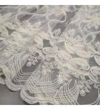 Тюль сетка Луиза вышивка белый