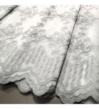 Тюль лен вышивка Элизабет серый