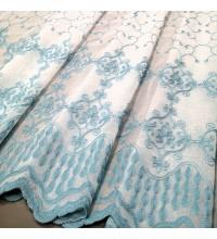Тюль лен вышивка Элизабет бирюзовый